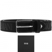 Emporio Armani Branded Leather Belt Black