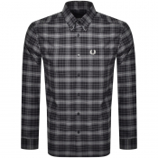 Fred Perry Tonal Check Long Sleeved Shirt Black