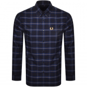 Fred Perry Tonal Check Long Sleeved Shirt Navy