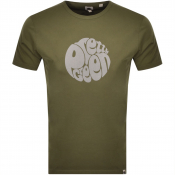 Pretty Green Gillespie Logo T Shirt Khaki