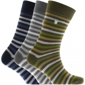 Barbour Triple Pack Stripe Socks Mix