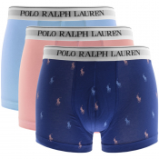 Ralph Lauren Underwear 3 Pack Boxer Trunks Blue