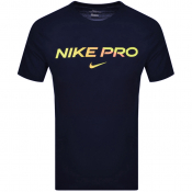 Nike Training Pro Logo T Shirt Navy