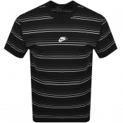 Nike Crew Neck Stripe T Shirt Black
