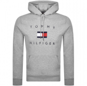 Tommy Hilfiger Flag Logo Pullover Hoodie Grey