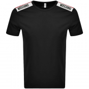 Moschino Taped Logo Short Sleeved T Shirt Black