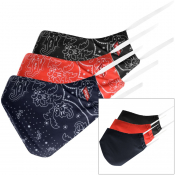 Levis 3 Pack Paisley Face Print Masks Red