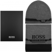 BOSS Aura Hat And Scarf Gift Set Grey