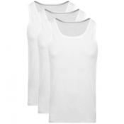 BOSS Triple Pack Vest T Shirts White