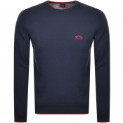 BOSS Riston Crew Neck Knitted Jumper Navy