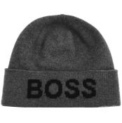 BOSS Logo Beanie Hat Grey
