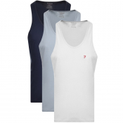 Farah Vintage Lounge Vests 3 Pack Navy