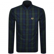 Fred Perry Tartan Long Sleeved Shirt Navy