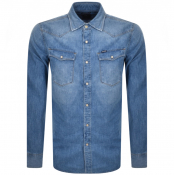 G Star Raw Slim 3301 Long Sleeved Shirt Blue