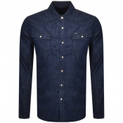 G Star Raw Slim 3301 Long Sleeved Shirt Navy