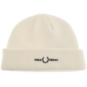 Fred Perry Roll Up Ribbed Beanie Hat Cream