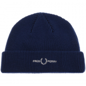 Fred Perry Roll Up Ribbed Beanie Hat Blue