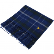 Lyle And Scott Tartan Lambswool Scarf Blue