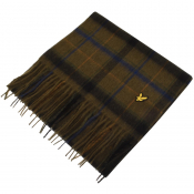 Lyle And Scott Tartan Lambswool Scarf Green