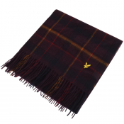 Lyle And Scott Tartan Lambswool Scarf Burgundy
