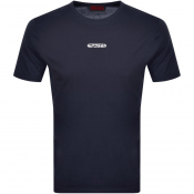 HUGO Durned Crew Neck T Shirt Navy