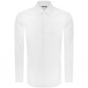 BOSS Isko Slim Fit Long Sleeve Shirt White