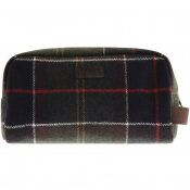 Barbour Tartan Wool Wash Bag Brown