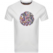 Pretty Green Thornley Paisley Logo T Shirt White
