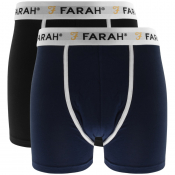 Farah Vintage Lundy 2 Pack Boxer Shorts Black
