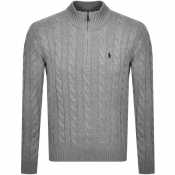Ralph Lauren Half Zip Cable Knit Jumper Grey