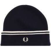 Fred Perry Twin Tipped Ribbed Beanie Hat Navy