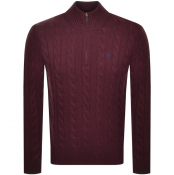 Ralph Lauren Half Zip Cable Knit Jumper Burgundy