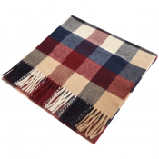 Gant Twill Checked Wool Scarf Burgundy
