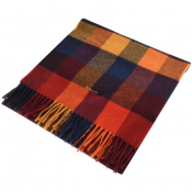 Gant Twill Checked Wool Scarf Red