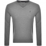 Ralph Lauren V Neck Wool Knit Jumper Grey