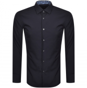 BOSS Joras Slim Fit Long Sleeve Shirt Navy