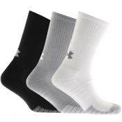 Under Armour Three Pack HeatGrear Crew Socks White