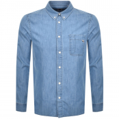 Pretty Green  Runcorn Long Sleeved Shirt Blue