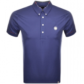 Pretty Green Floral Collar Polo T Shirt Navy