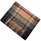 Gant Twill Checked Wool Scarf Beige