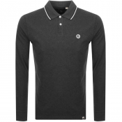 Pretty Green Hartford Long Sleeve Polo Shirt Grey