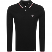 Pretty Green Hartford Long Sleeve Polo Shirt Black