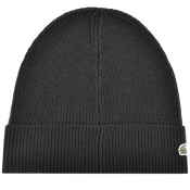 Lacoste Ribbed Beanie Black