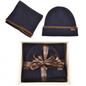 Barbour Ribbed Knit Scarf And Hat Gift Set Navy