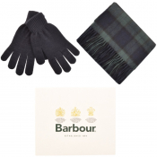 Barbour Lambswool Scarf And Gloves Gift Set Navy