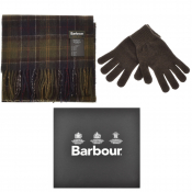 Barbour Lambswool Scarf And Gloves Gift Set Green