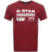 G Star Raw Logo T Shirt Red