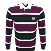 Lacoste Stripe Rugby Long Sleeve Polo Shirt Purple