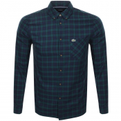 Lacoste Long Sleeved Checked Shirt Green