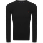 Product Image for Ralph Lauren Long Sleeved Waffle T Shirt Black
